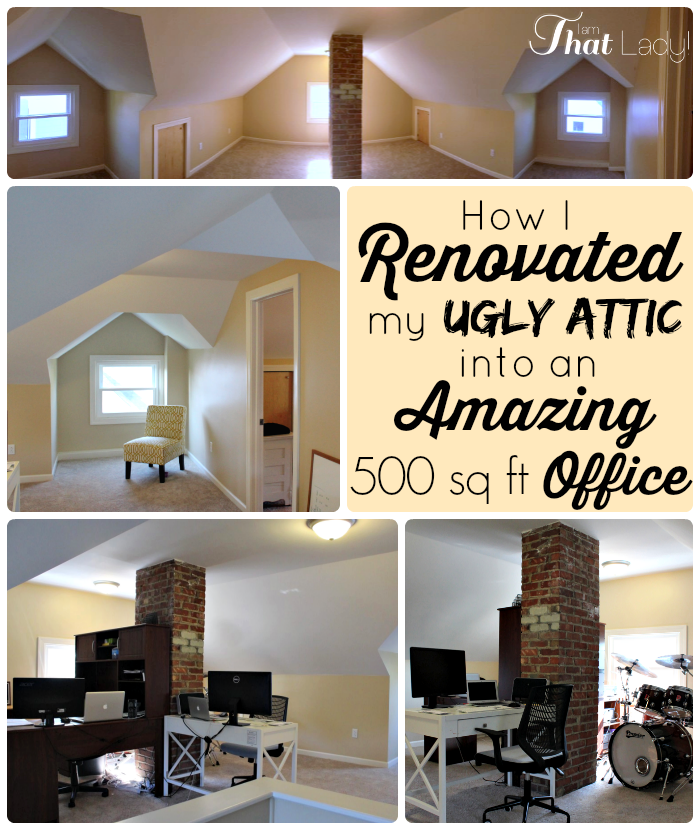 Check out how we renovated our ugly attic into an AMAZING 500 sq ft Office!