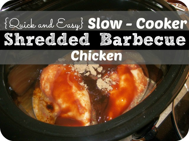 shredded BBQ Chicken recipe. 4 ingredients, 3 hours in slow-cooker ...