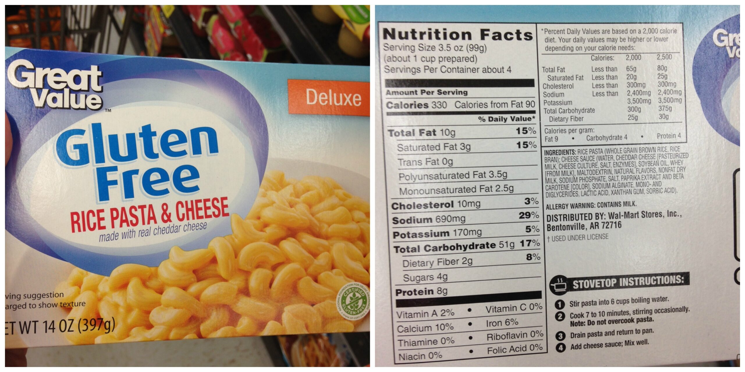 Great Value Gluten Free Rice Pasta and Cheese Deluxe – priced at $2 ...