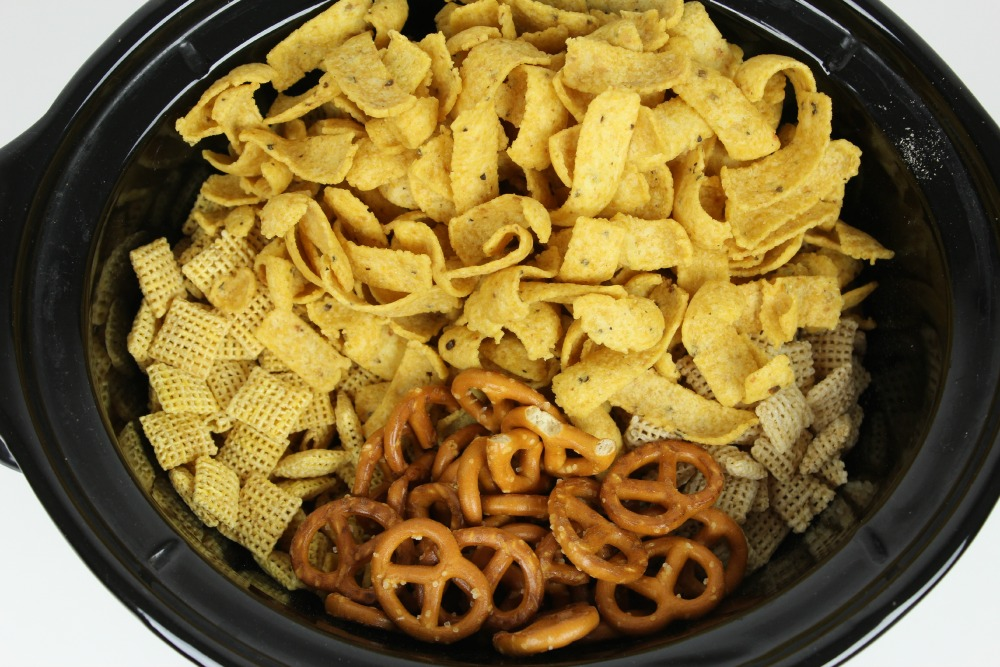 chex mix in pot