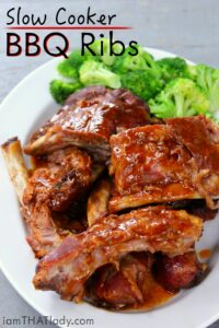 You don't need a smoker to have AWESOME ribs! These Slow Cooker BBQ Ribs will fit the bill when you're in the mood for some fall-off-the-bone baby back ribs.