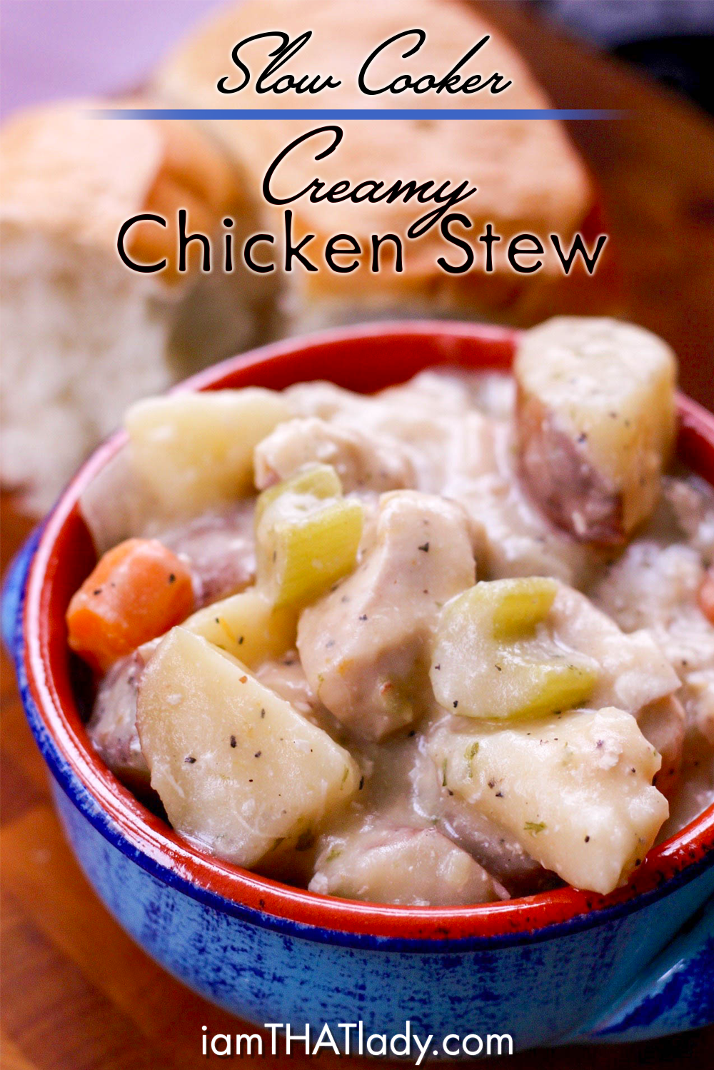 Slow Cooker Creamy Chicken Stew - I am THAT Lady